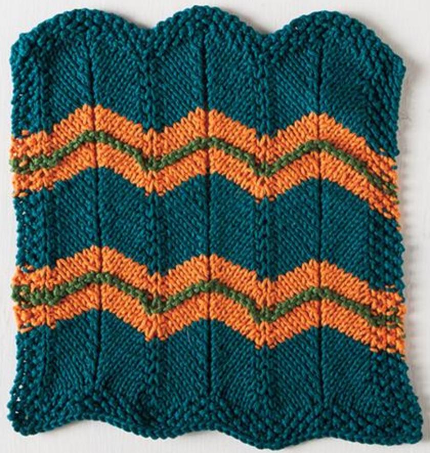 Free Pattern Chevron Stripes Dishcloth